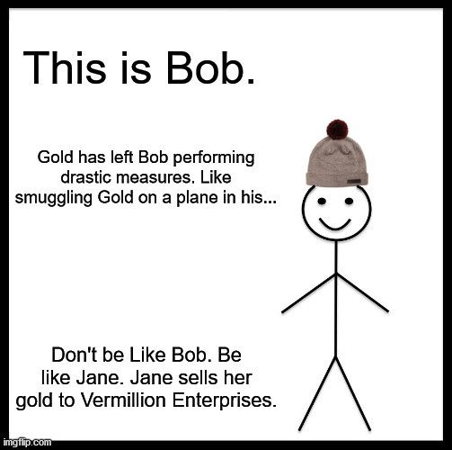 This is bob - bob smuggled gold in his... don't be like bob - sell your gold to spring hill's gold dealer and coin shop serving New Port Richey -Vermillion Enterprises