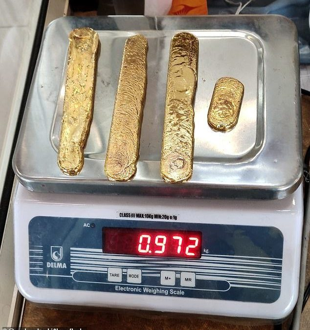 gold smuggling at the peak. this was found in his b.... don't smuggle gold - buy gold from vermillion enterprises instead. https://springhillgoldandcoinshop.com